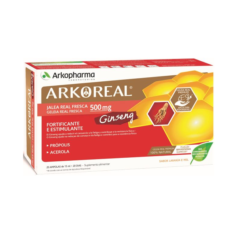 ArkoReal Geleia Real + Ginseng 20ampolas