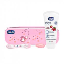 Chicco Conjunto de Higiene Oral Rosa +12m