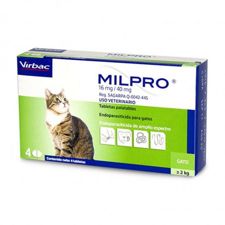 Milpro Gatos 16 mg/40mg 4comprimidos